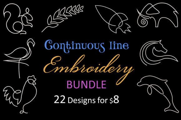 Print on Demand: Continuous Line Embroidery Bundle  By Embroidery Shelter