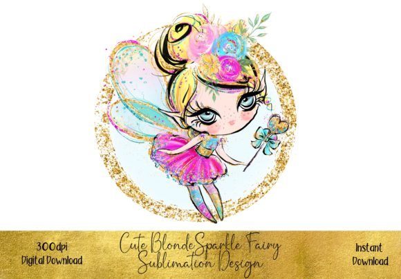 Cute Blonde Fairy Sublimation Design Graphic Illustrations By STBB