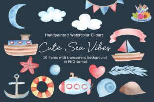 Cute Sea Vibes Watercolor Clipart Graphic Illustrations By Colormarch