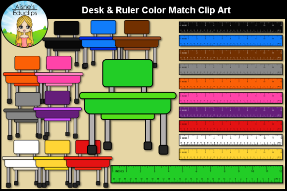 Print on Demand: Desk & Ruler Color Match Clip Art Graphic Teaching Materials By Aisne Educlips