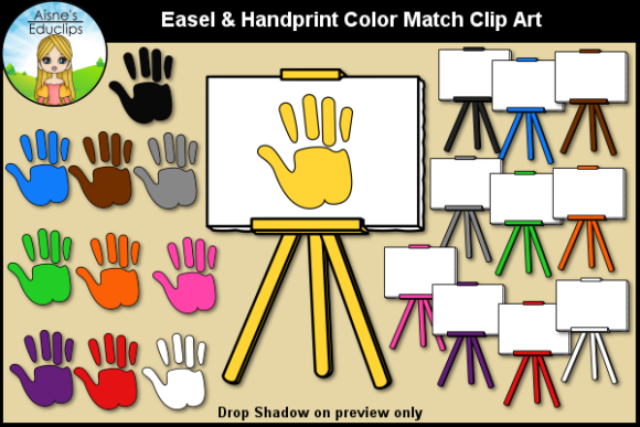 Print on Demand: Easel & Hand Print Color Match Clip Art Graphic Teaching Materials By Aisne Educlips