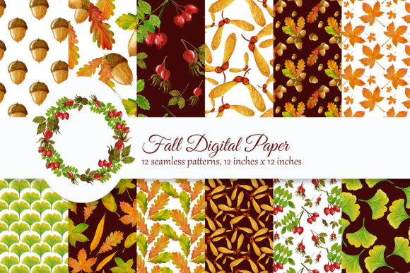 Print on Demand: Fall Digital Paper, Watercolor Autumn Graphic Illustrations By s.yanyeva
