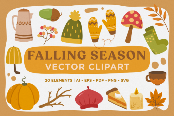 Print on Demand: Falling Season Vector Clipart Pack Graphic Illustrations By Telllu