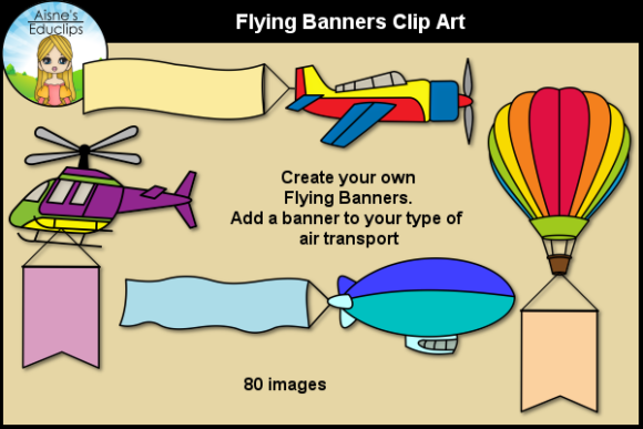 Print on Demand: Flying Banners Clip Art Graphic Illustrations By Aisne Educlips