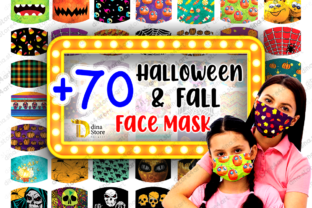 Halloween & Fall Face Mask Sublimation Graphic Crafts By dina.store4art