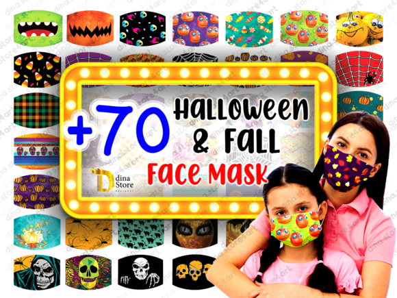 Print on Demand: Halloween & Fall Face Mask Sublimation Grafik Plotterdateien von dina.store4art