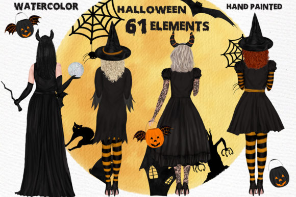 Halloween Girls Clipart Witches Clipart Graphic Illustrations By LeCoqDesign - Image 1