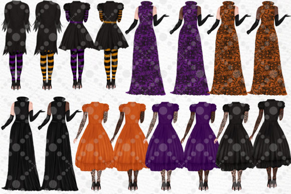 Halloween Girls Clipart Witches Clipart Graphic Illustrations By LeCoqDesign - Image 2