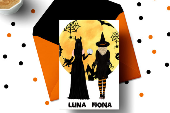 Halloween Girls Clipart Witches Clipart Graphic Illustrations By LeCoqDesign - Image 5