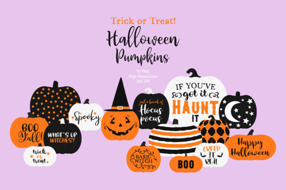 Halloween Pumpkins Clip Art Graphic Illustrations By Sweet Shop Design
