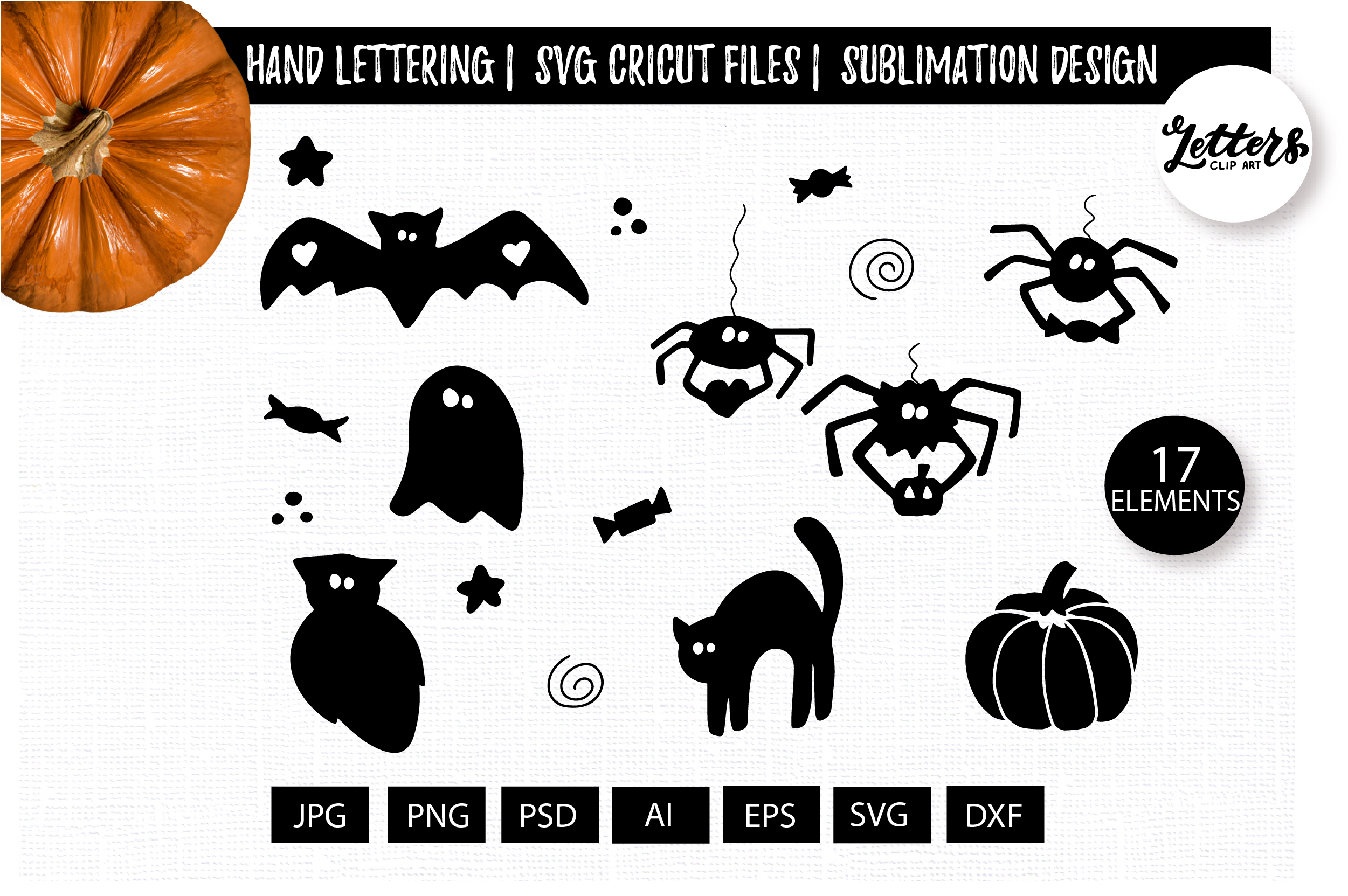 Halloween Clipart Hand Drawn Graphic By Cyrilliclettering Creative Fabrica