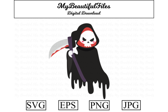 Print on Demand: Halloween Grim Reaper Clipart Graphic Illustrations By MyBeautifulFiles
