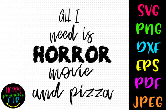 Print on Demand: Horror Movie and Pizza Halloween Graphic Crafts By Happy Printables Club