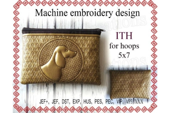 ITH Zippered Bag - Dog Sewing & Crafts Embroidery Design By ImilovaCreations