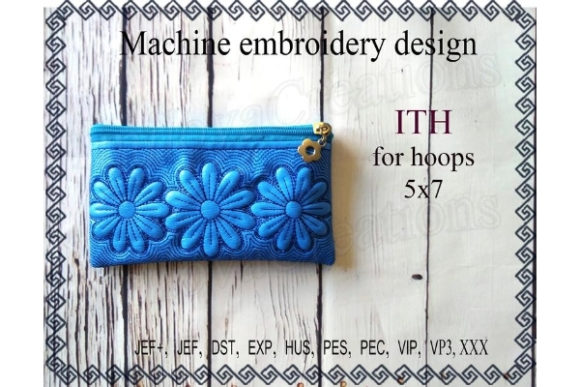 ITH Zippered Bag - Chamomile Sewing & Crafts Embroidery Design By ImilovaCreations