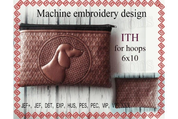 ITH Zippered Bag - Dog Embroidery