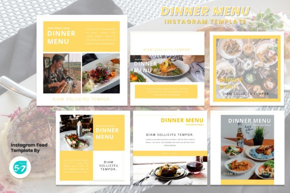 Instagram Feed Template - Dinner Menu Graphic Presentation Templates By 57creative