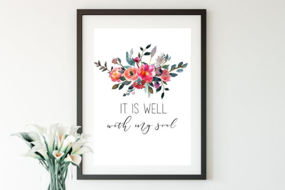 It is Well Watercolor Floral Wall Art Graphic Illustrations By InspiringDigital