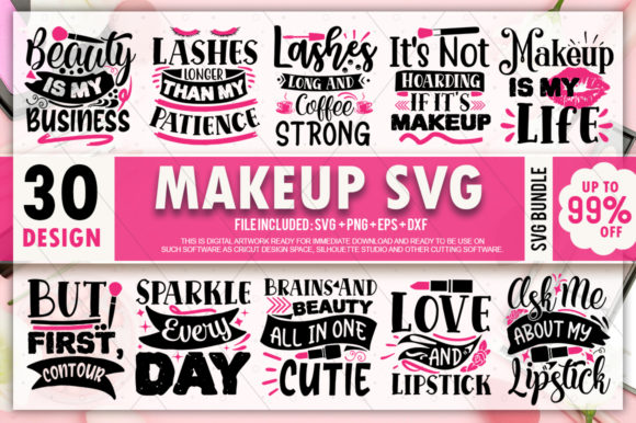Print on Demand: Makeup Quotes Bundle Graphic Crafts By PrintableSvg