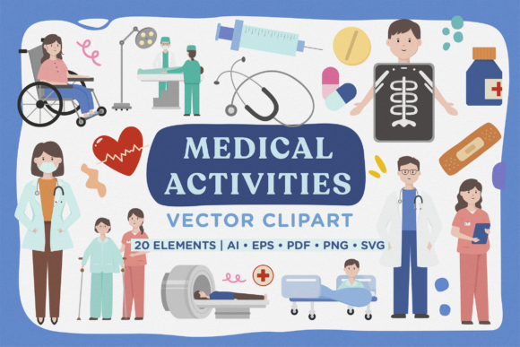 Print on Demand: Medical Activity Vector Clipart Pack Graphic Illustrations By Telllu
