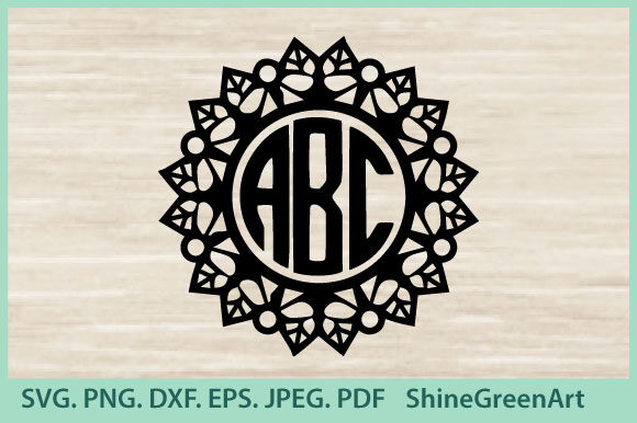 Print on Demand: Monogram Mandala - Floral Frame Graphic Crafts By ShineGreenArt