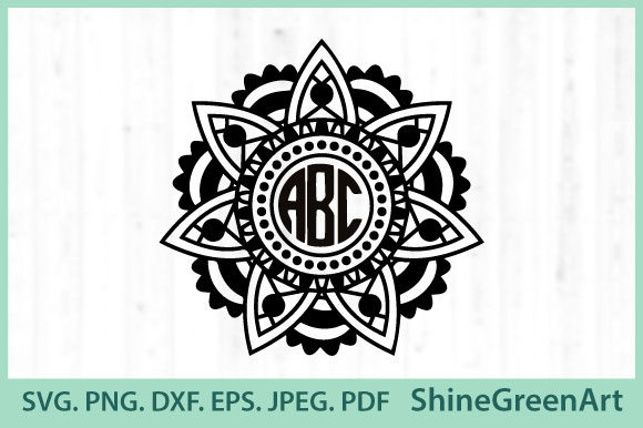Print on Demand: Monogram Mandala Graphic Crafts By ShineGreenArt