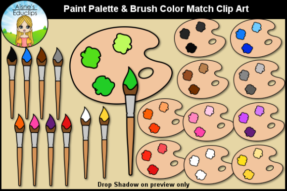 Print on Demand: Paint Palette & Brush Color Match Graphic Teaching Materials By Aisne Educlips