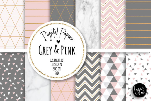 Print on Demand: Pink Chic Digital Paper Set Graphic Backgrounds By loyaarts