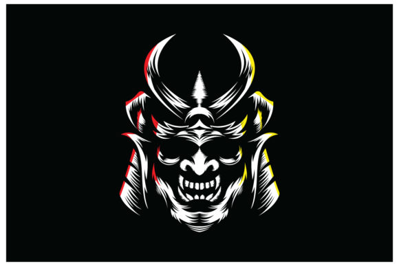 Scary Samurai Armour Helm, Isolated Vect Graphic Logos By alexanderbautista137