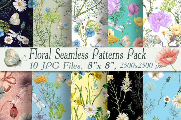 Seamless Botanical Patterns Pack Graphic Patterns By arevkasunshine