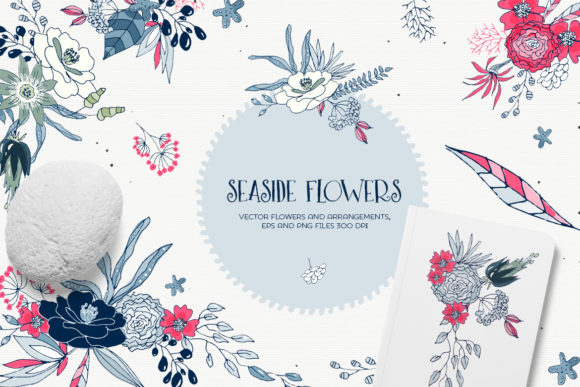 Print on Demand: Seaside Flowers - Vector Floral Cliparts Graphic Illustrations By webvilla