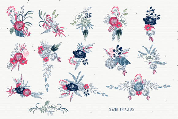 Seaside Flowers - Vector Floral Cliparts Graphic Image
