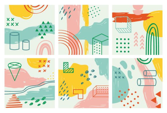 Set of Abstract Background Vector Graphic Backgrounds By Big Barn Doodles