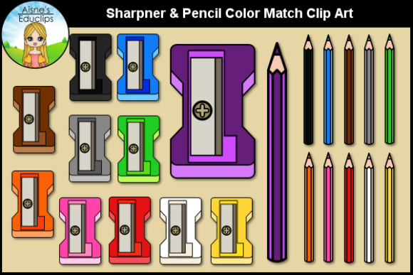 Print on Demand: Sharpener & Pencil Color Match Clip Art Graphic Teaching Materials By Aisne Educlips