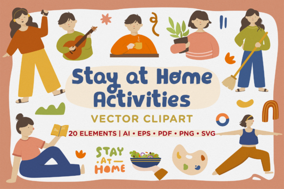 Print on Demand: Stay at Home Activities Vector Clipart Graphic Illustrations By Telllu