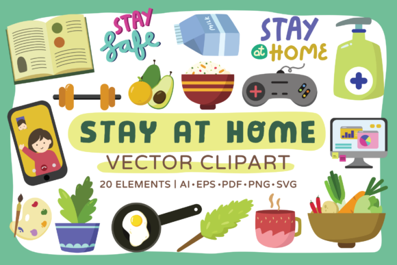 Print on Demand: Stay at Home Vector Clipart Pack Graphic Illustrations By Telllu