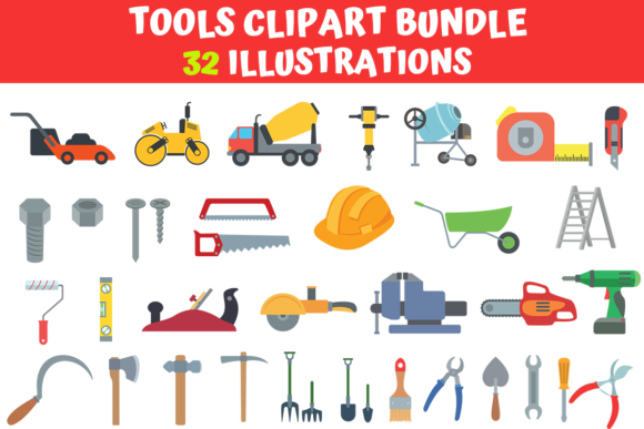Print on Demand: Tools Clipart Bundle  By MyBeautifulFiles