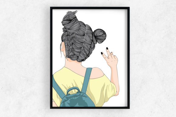 Wall Art Backpacking Girl Going out Graphic Illustrations By Saydung89