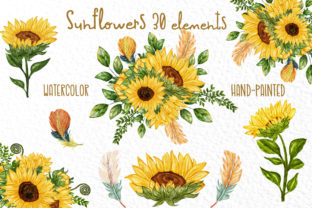 Print on Demand: Watercolor Sunflower Clipart Sunflowers Graphic Illustrations By vivastarkids