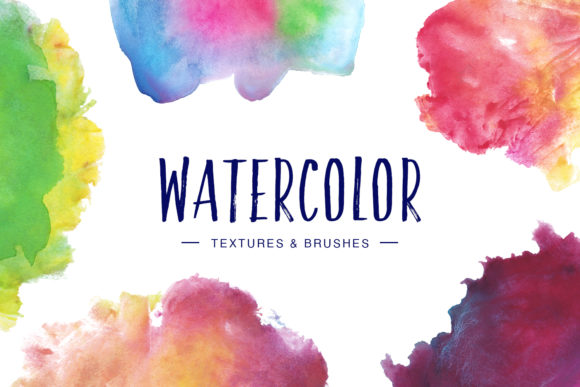 Print on Demand: Watercolor Textures & Brushes Graphic Textures By DTCreativeLab