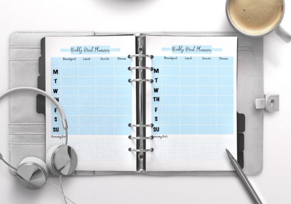 Weekly Meal Planner Blue Graphic KDP Interiors By Nickkey Nick