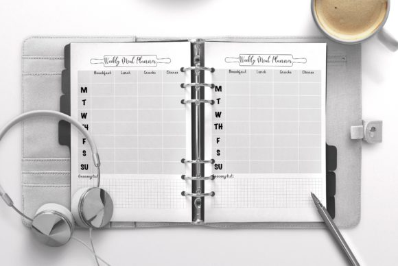 Weekly Meal Planner Gray Graphic KDP Interiors By Nickkey Nick