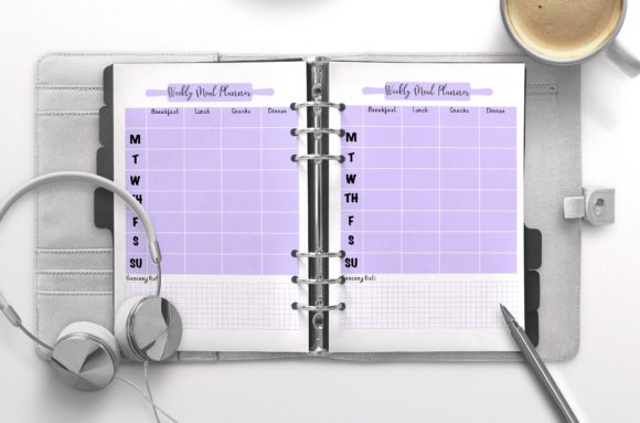 Weekly Meal Planner Mauve Graphic KDP Interiors By Nickkey Nick