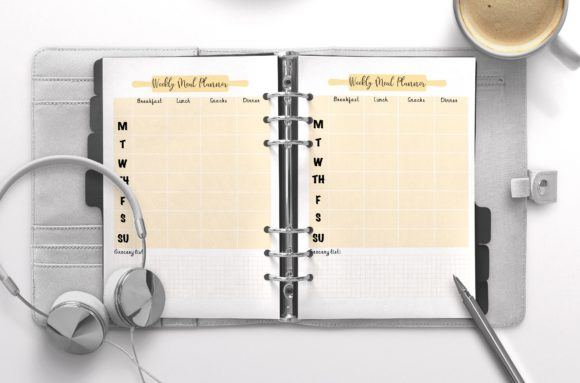 Weekly Meal Planner Peach Graphic KDP Interiors By Nickkey Nick