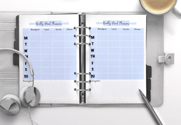 Weekly Meal Planner Sky Blue Graphic KDP Interiors By Nickkey Nick
