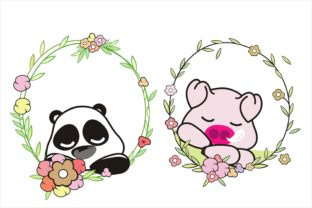 Cute Animal with Beauty Wreath Flower Graphic Illustrations By onoborgol