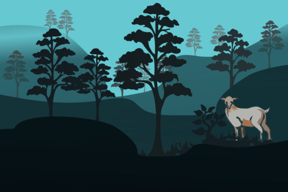 Print on Demand: Deer with Pine Trees Graphic Illustrations By ayska17