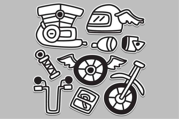Doodle Design Cartoon Motorcycle Sticker Graphic Illustrations By akhmadmutohar83