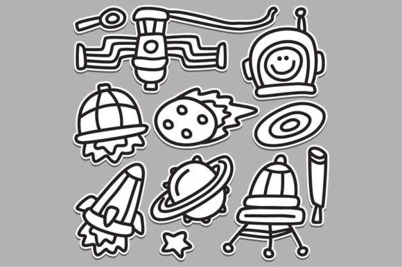 Space Sticker Doodle Design Graphic Illustrations By akhmadmutohar83