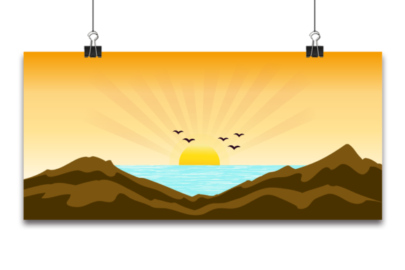 Vector Tropical Beautiful Sunset, Graphic